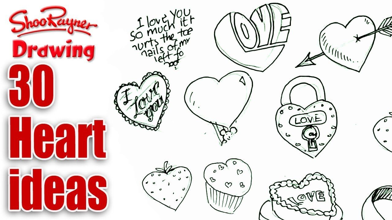 How to draw 30 different Valentines Hearts
