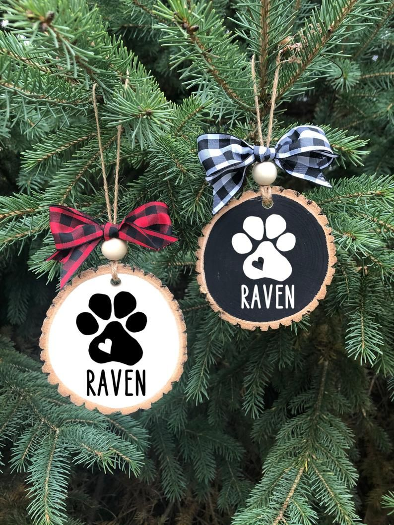 Personalized Pet Ornament Dog Wood Slice Ornament Etsy