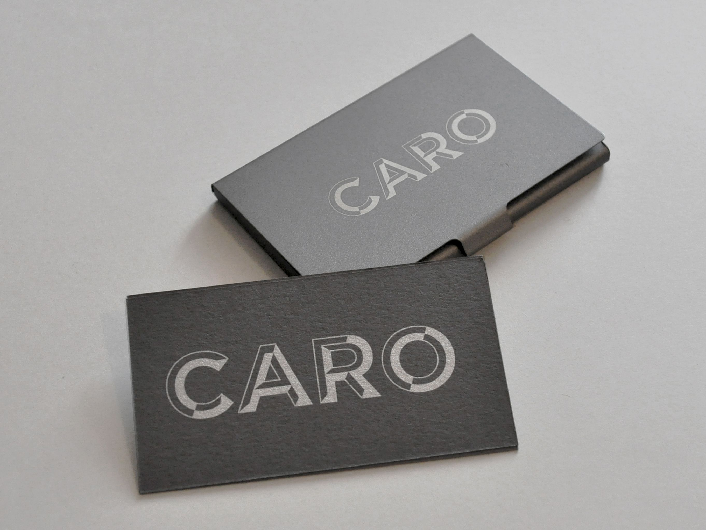 Part of our #Branding for Caro. #Metal #BusinessCardCase and ...