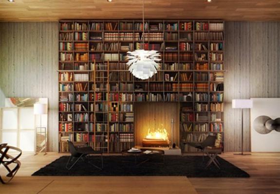 Een boekenkast rond de open haard i read!!! pinterest book