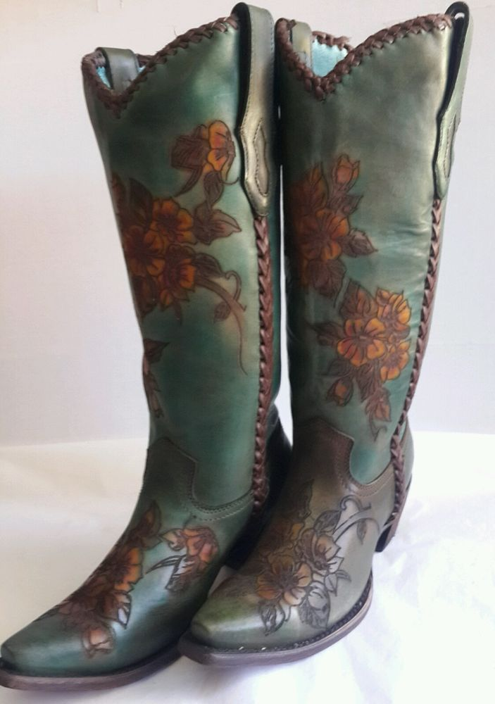 CORRAL WOMENS GREEN / TURQUOISE COWBOY Boots hand painted Flowers TALL 7 #CorralBoots #CowboyWestern