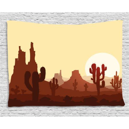 Cactus Decor Tapestry, Arid Country Landscape with Sunset in Stone ...