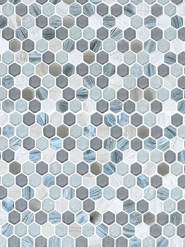 Blue Gray Hexagon Glass Marble Mosaic Backsplash Com Marble