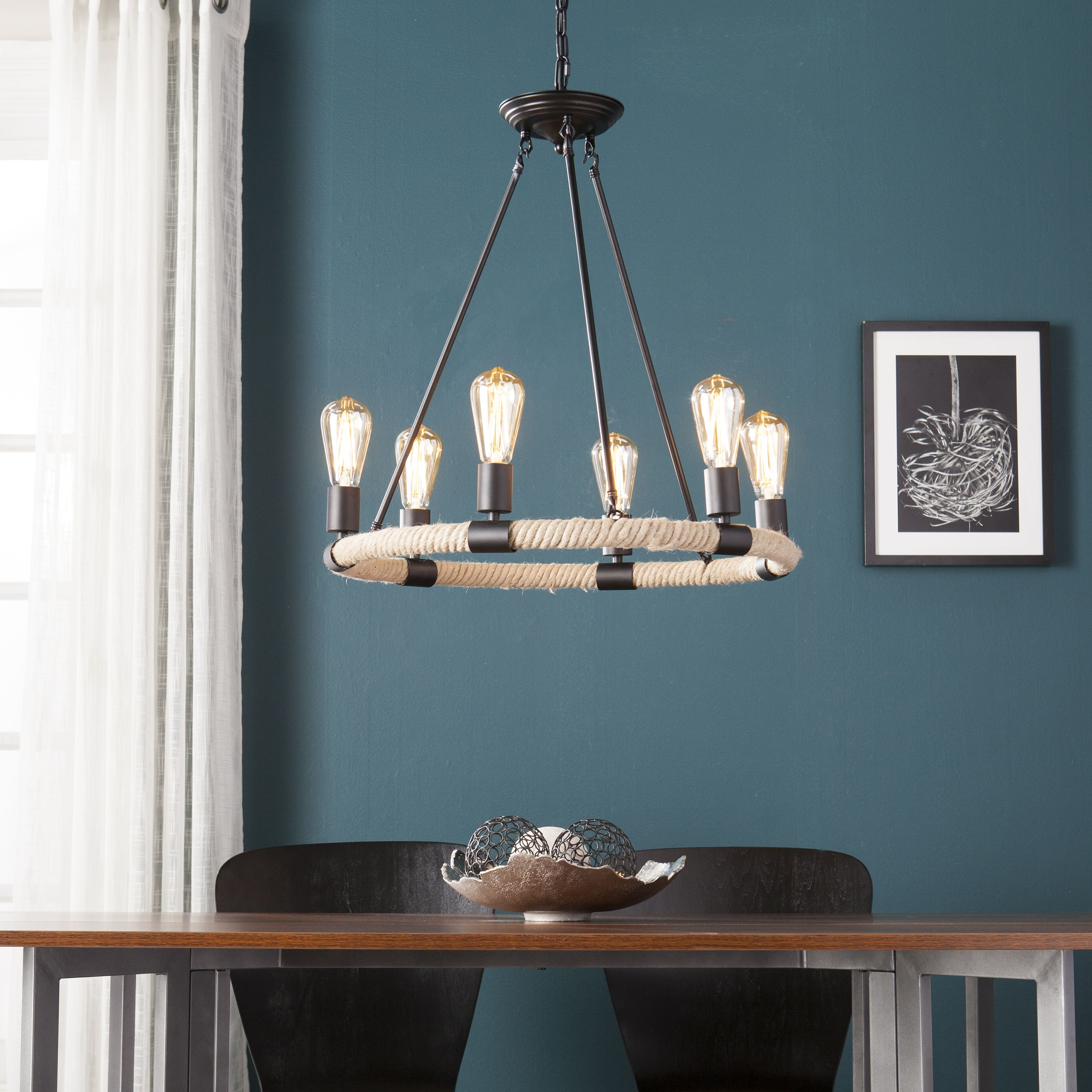 Buy Southern Enterprises Nylyght 6Light Rope Chandelier