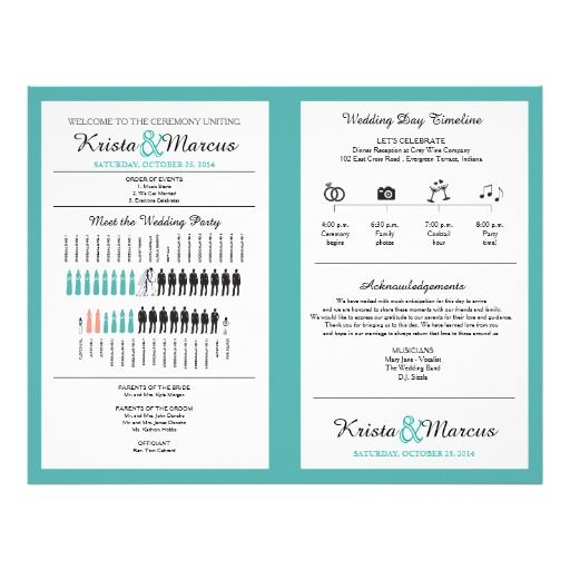 Simple Silhouettes Wedding Program Fan  Icon Wedding Timeline