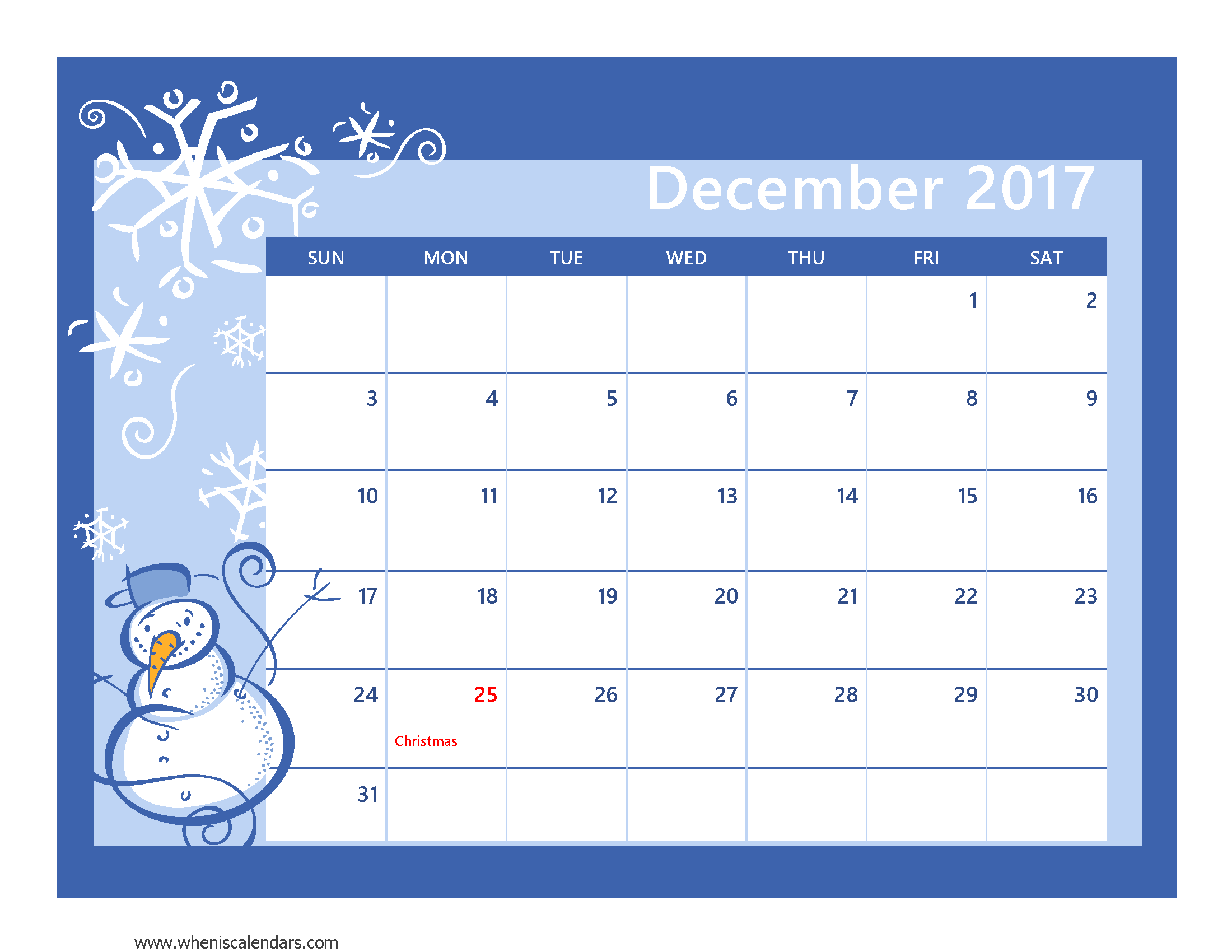 Printable December When Is Calendars