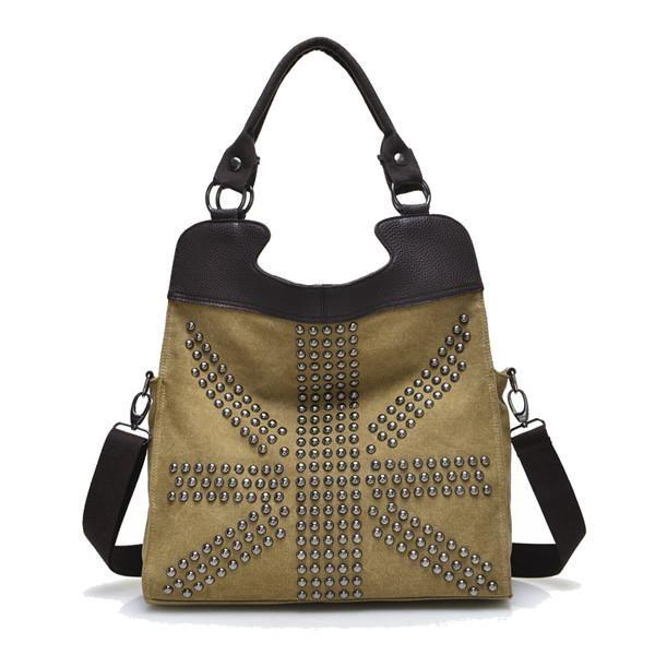 dcb130c0e66 Bolsos de lona de las mujeres del remache bolsos de hombro ocasionales  bolsas de la compra · Canvas Shoulder BagBrown Shoulder BagsCanvas ...