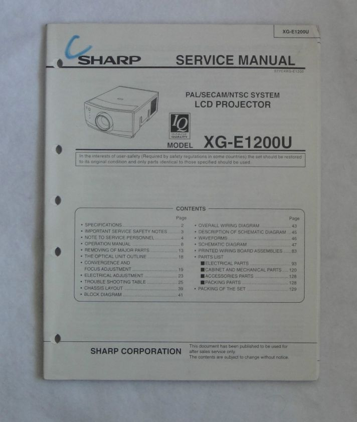 Projector service guide array sharp xg e1200u lcd projector service manual this service manual rh pinterest fandeluxe Choice Image