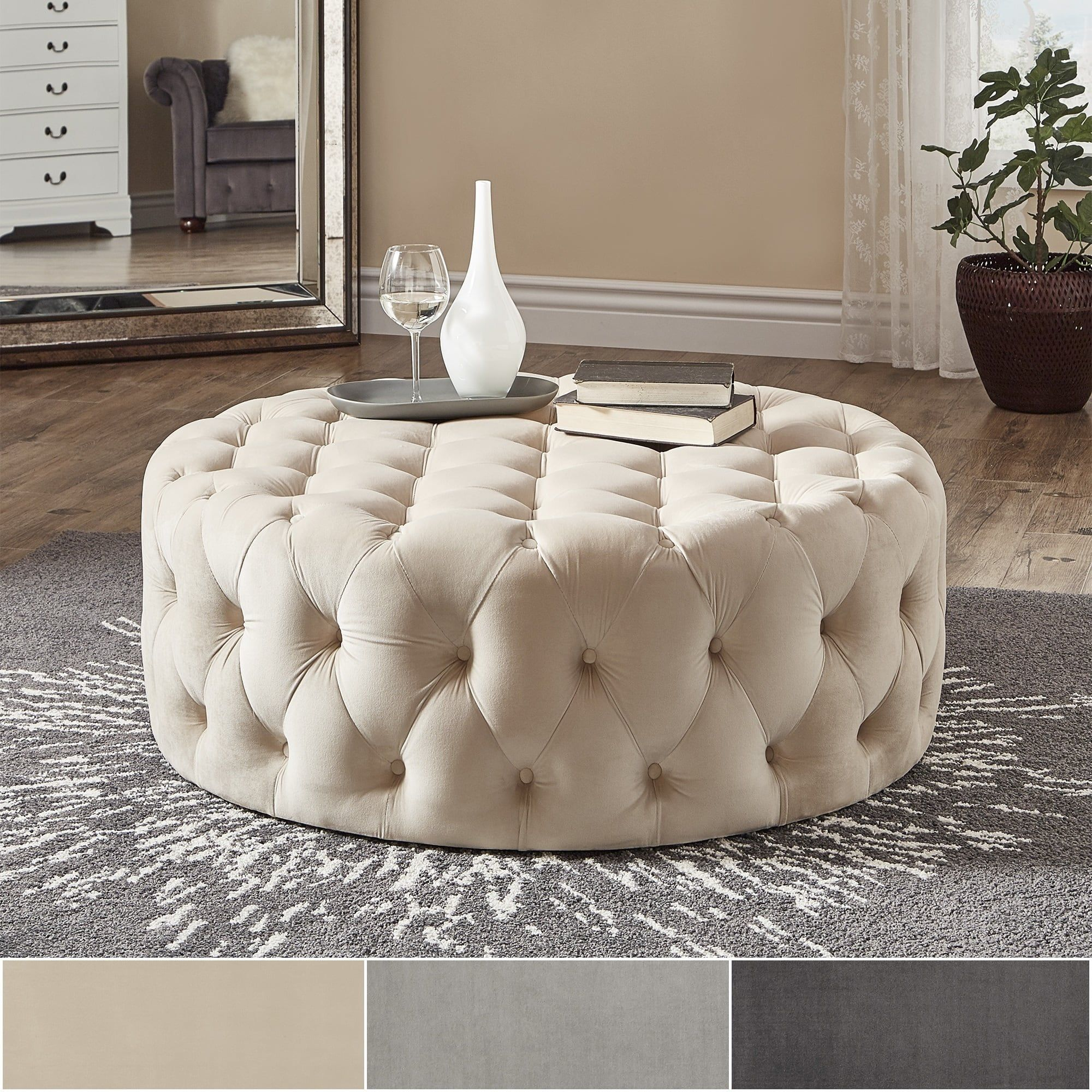 Knightsbridge Round Velvet Tufted Cocktail Ottoman with Casters by iNSPIRE Q  Artisan