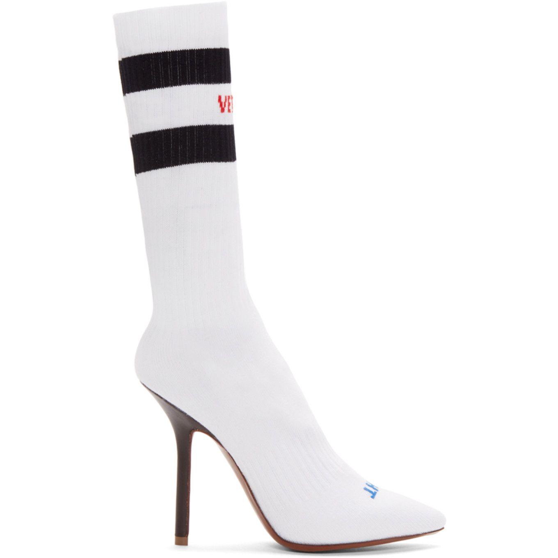 Vetements White Logo & Stripes Sock Boots