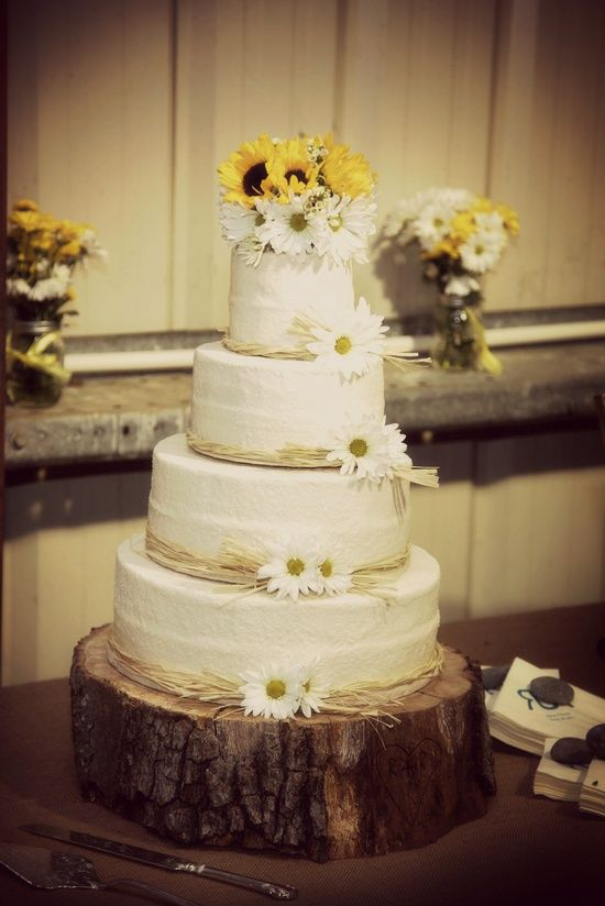 I Love this one. Country sunflower & daisy cake. add just a touch of ...