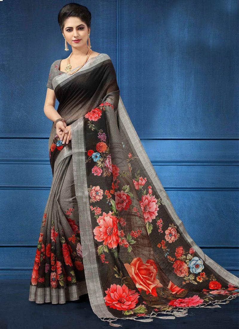 c2710c4be8 Pristine Black Color Linen With Digital Print Saree in 2019 | Sarees ...