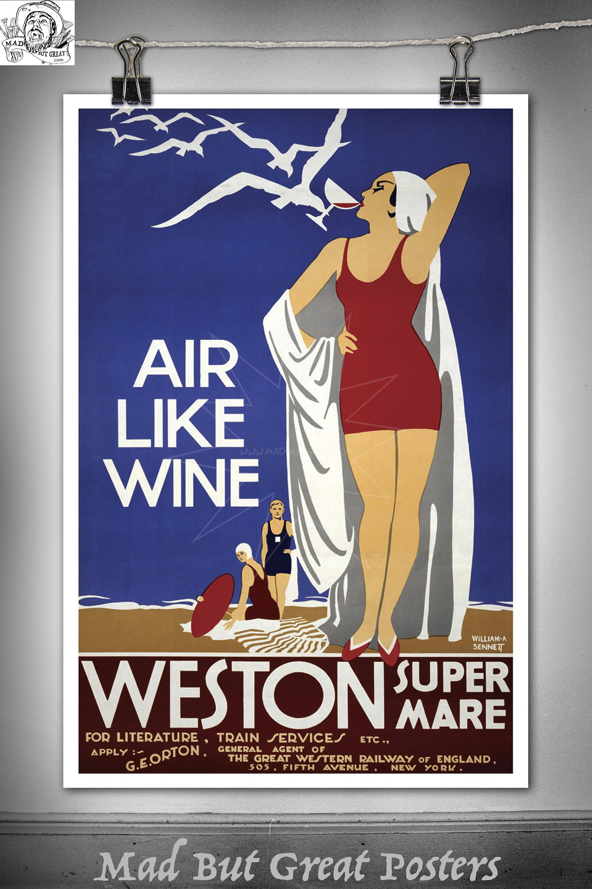 Air Like Wine Weston Super Mare poster vintage wall art home