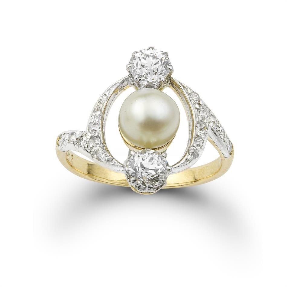 c. 1880  French Pearl and Diamond Ring