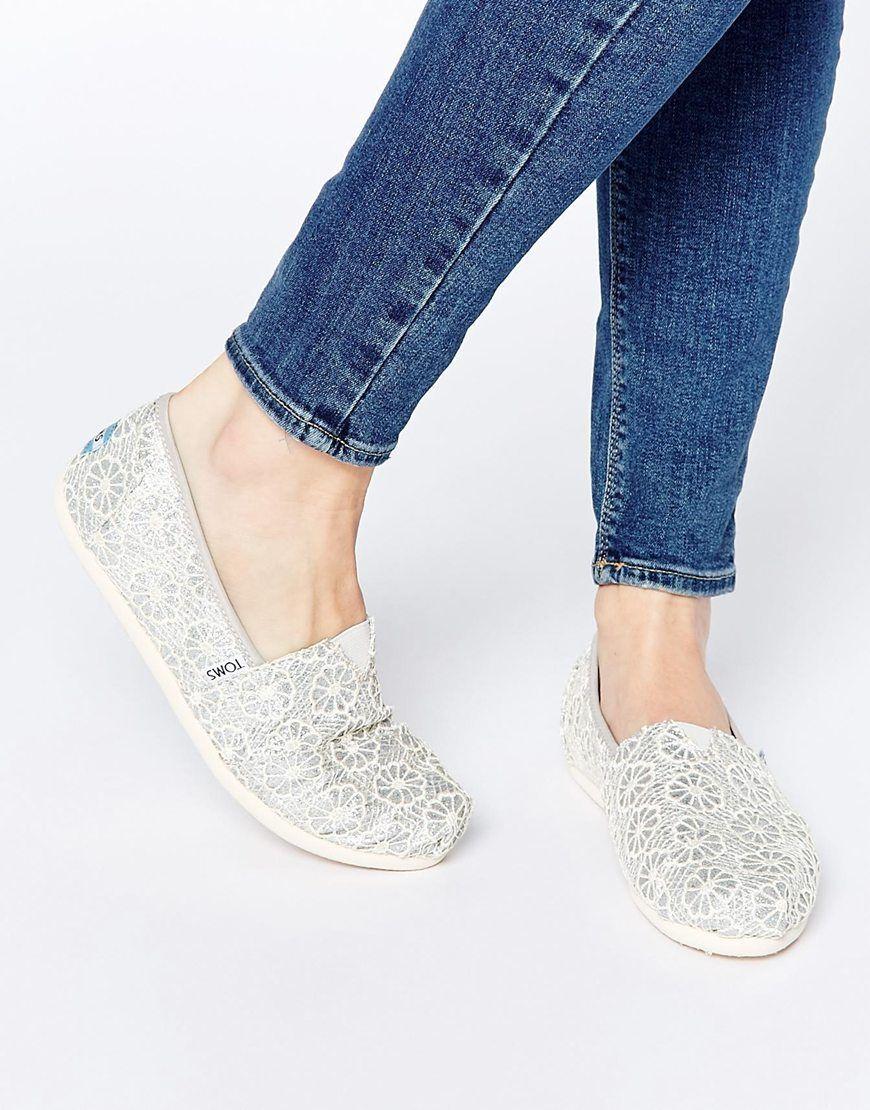 TOMS Silver Crochet Slip On Flat Shoes