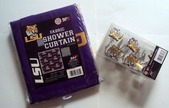 Lsu Shower Curtain And Hooks I Have This In My Kids Bathroom Looks Awesome Fabric Shower Curtains Lsu Curtains