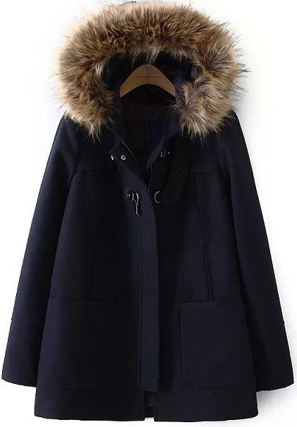 Manteau femme bleu marine avec capuche