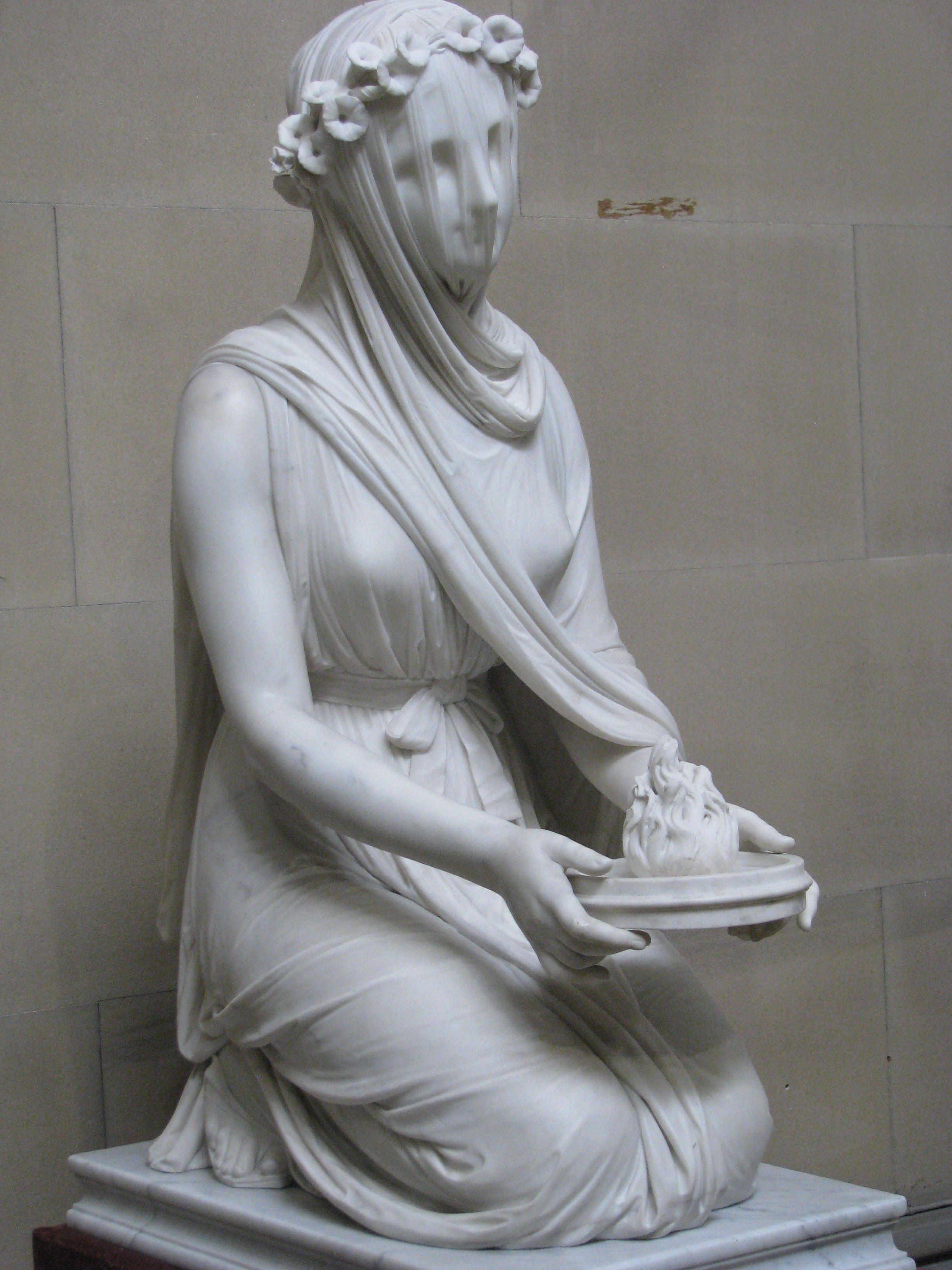 Veiled Vestal Virgin Sculpture
