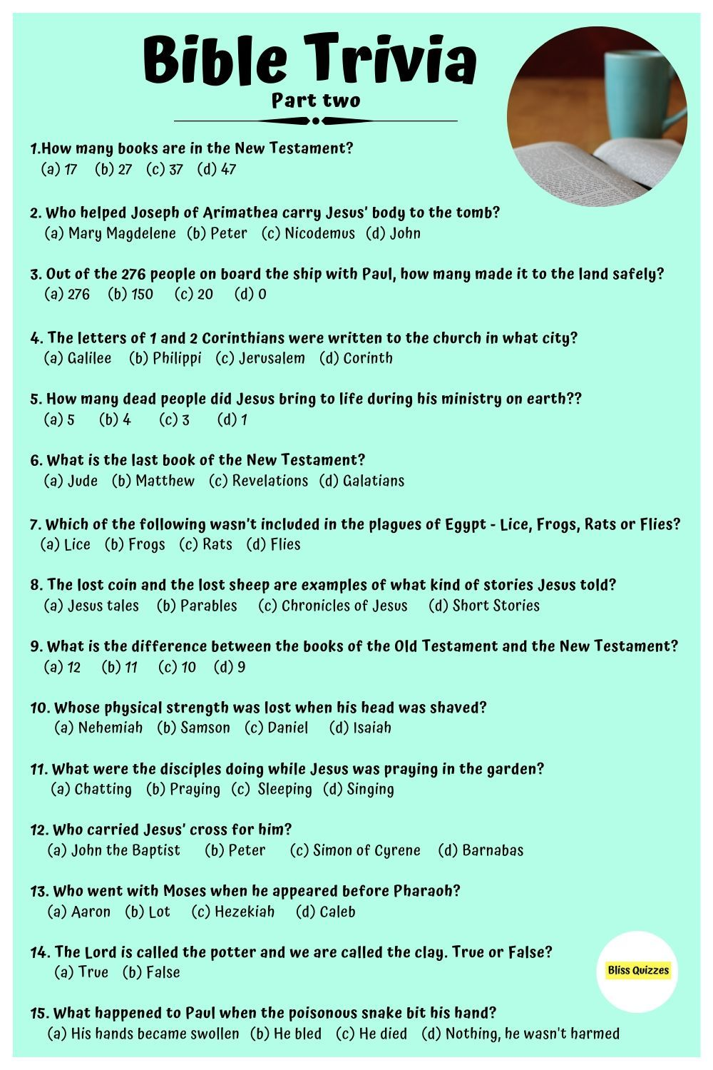 Bible trivia questions and answers part two in 2020 ...