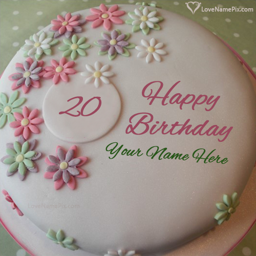 Flowers White Cream 20th Birthday Cake With Name Photo