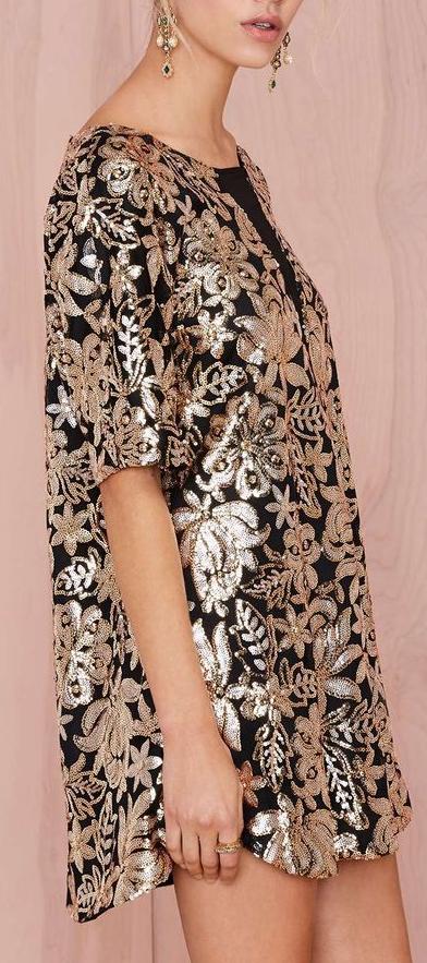 sequined shift dress