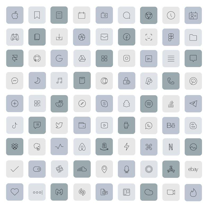 83 Grey iOS 14 App Icons Light Mood iOS14 Widget C