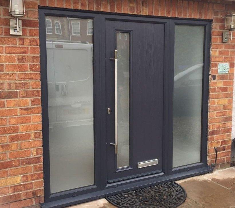 Anthracite Grey Shardlow Composite Door With Two Side Panels Modern Exterior Doors Contemporary Front Doors Front Door