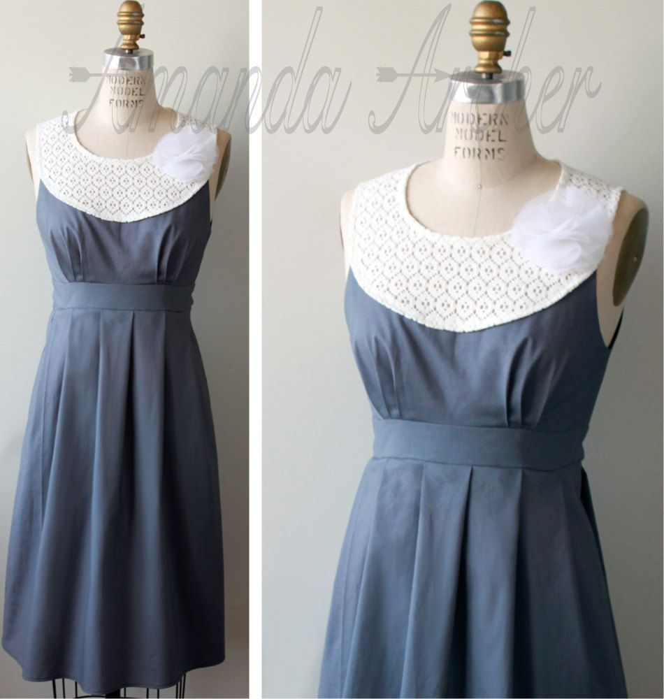 Lace dress gray  Lace Collar Dress Slate Gray Made to Order custom by AmandaArcher