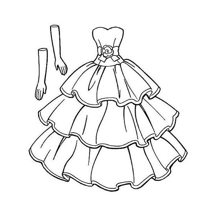 Coloriage robe de princesse et gants f te princesse - Coloriage espagnol ...