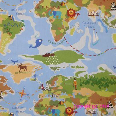 World multi childrens curtains fabrics and globe world multi gumiabroncs Gallery