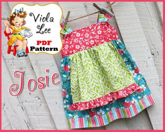 Josie... Girls Apron Knot Dress Pattern. Jumper Pattern. INSTANT ...