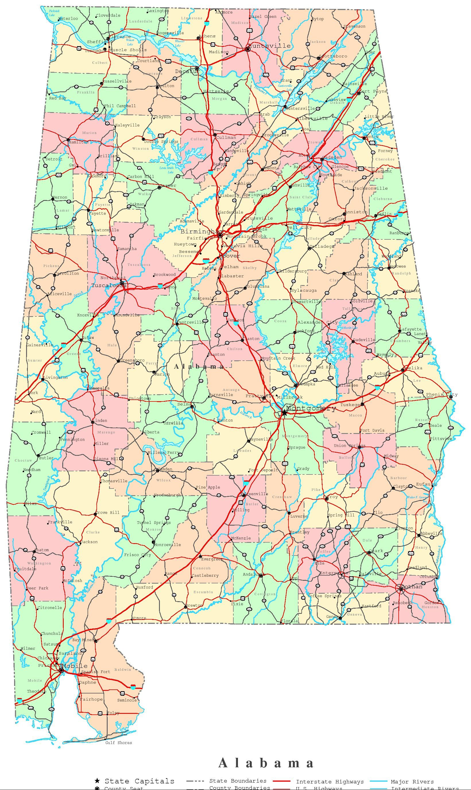 map of alabama - Google Search | Printable maps, Map, Map of ...