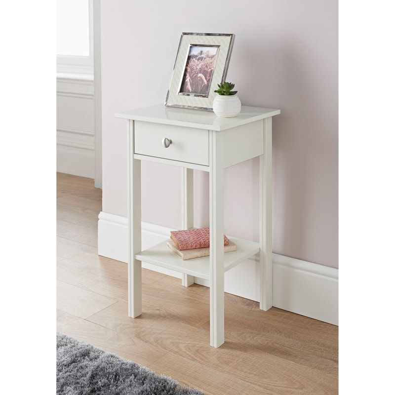 Larson 1 Drawer Side Table In 2020 White Side Tables Side Tables Bedroom Drawers