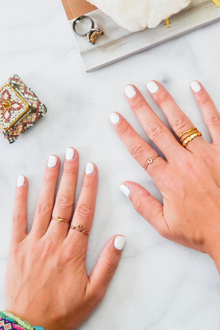 3 ways to stack your rings, stacked rings, gold rings, white nails ...