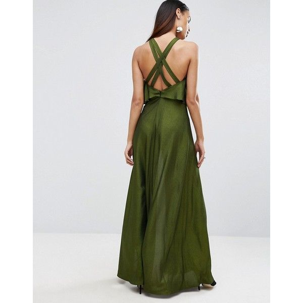 ASOS Crop Top Strappy Back Foil Maxi Dress (£78) ❤ liked on Polyvore featuring dresses, green, overlay dress, spaghetti-strap maxi dresses, maxi dresses, metallic maxi dress and metallic green dress