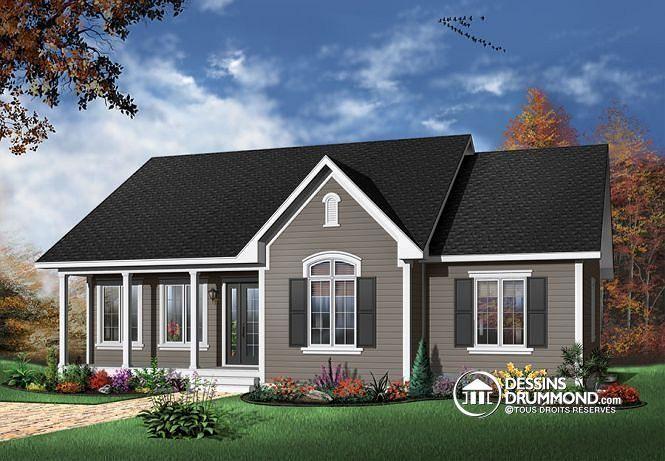 W2185-V2 - Plan de maison du0027un plain-pied 3 chambres, foyer central