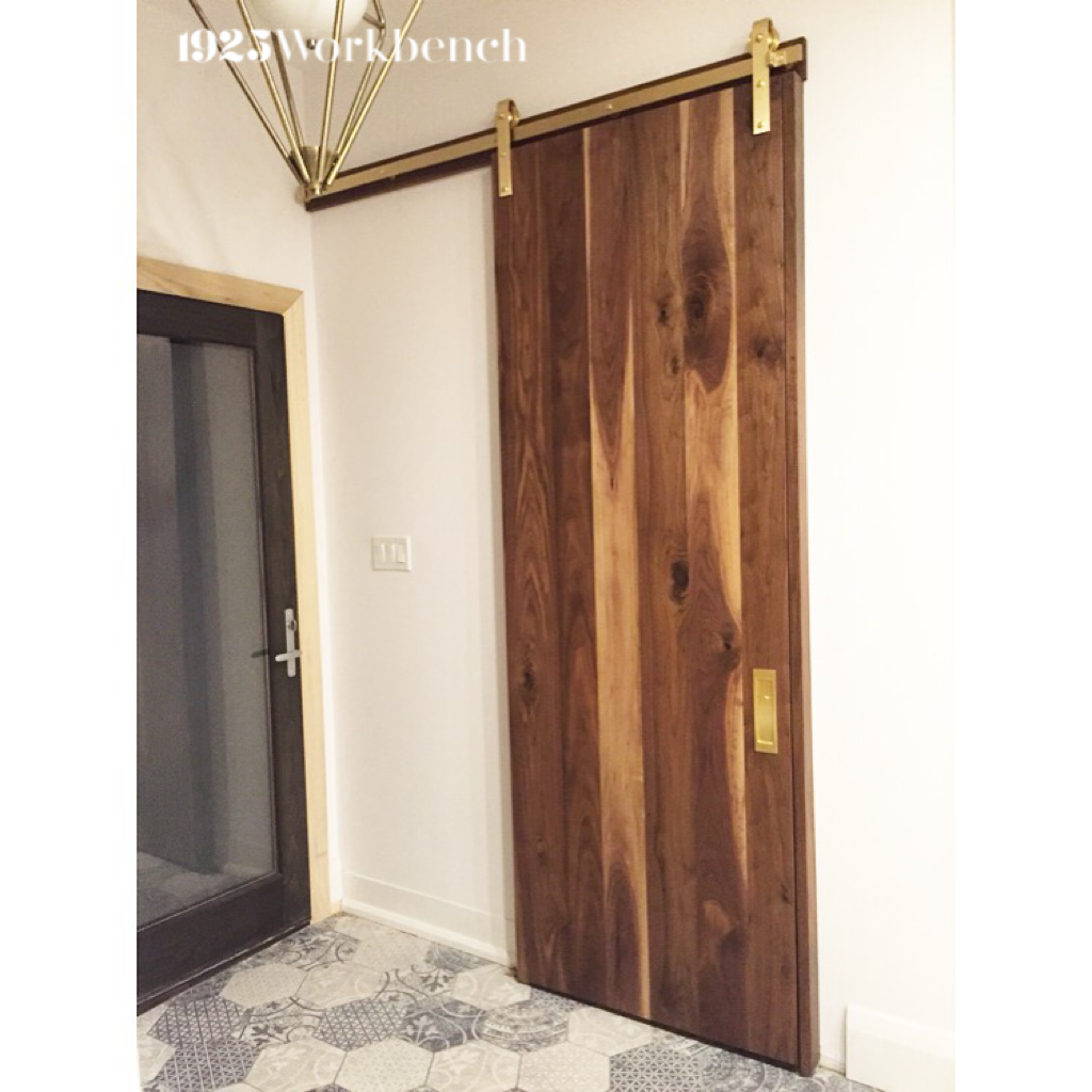 We Made This Solid Walnut Door To Go With Our Own Solid Brass Hardware Made In Canada 1925workben Brewery Interior Modern Sliding Barn Door Barn Door Hardware
