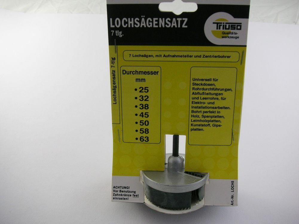 LOCH518* 7 tlg.Lochsäge-Satz 25, 32, 38, 45, 50, 58, 63 mm