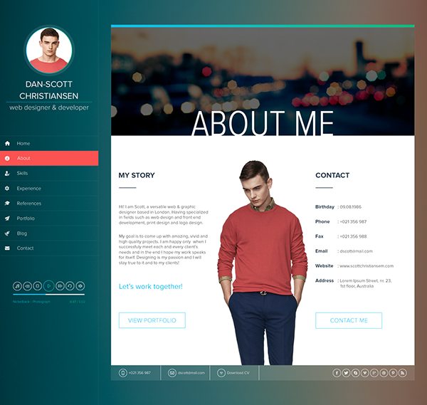 Web Resume Template Ispy  Cvresumeblog Html Template On Behance  Currículum