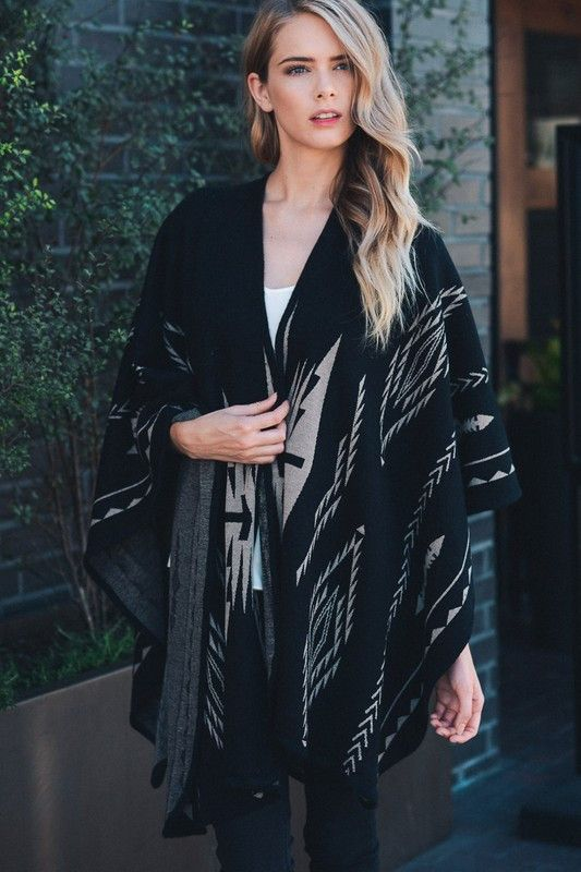 Black Aztec Poncho from The Mill Boutique