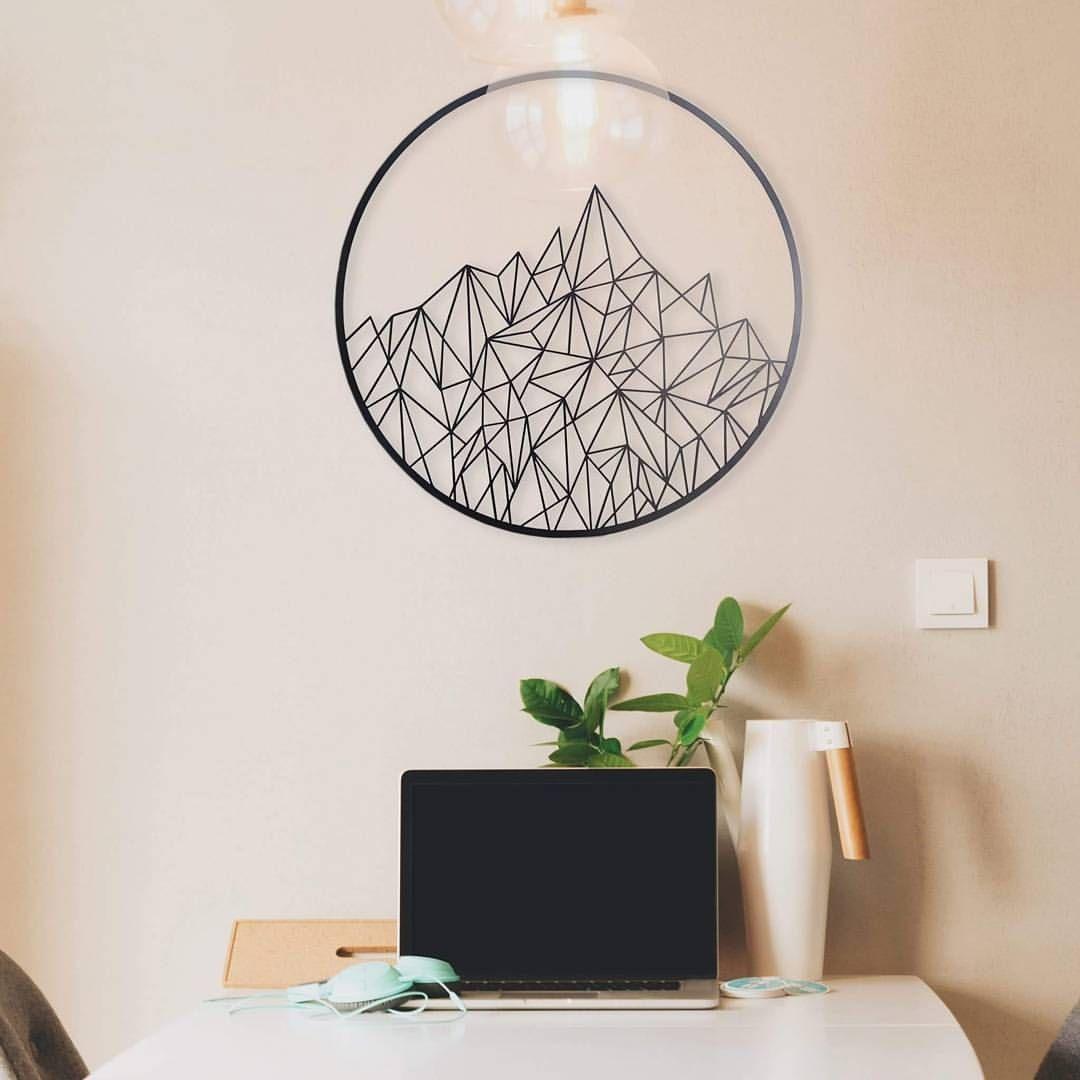 Geometric mountain metal art geometric mountain metal