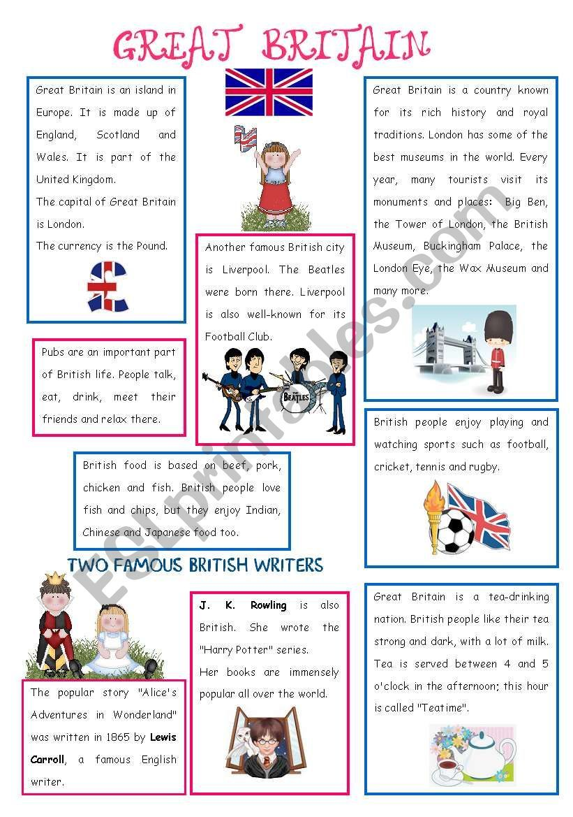 English Speaking Country 1 Great Britain Esl Worksheet By Aimee S Great Britain Britain Map Of Great Britain