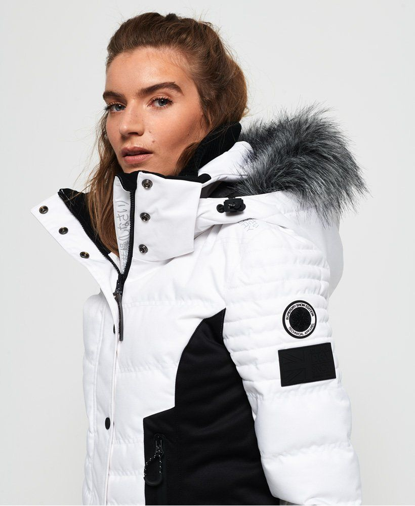 Womens Luxe Snow Puffer Jacket In Optic Superdry Puffer Jacket Women Snow Jackets Women Jackets For Women [ 1000 x 820 Pixel ]