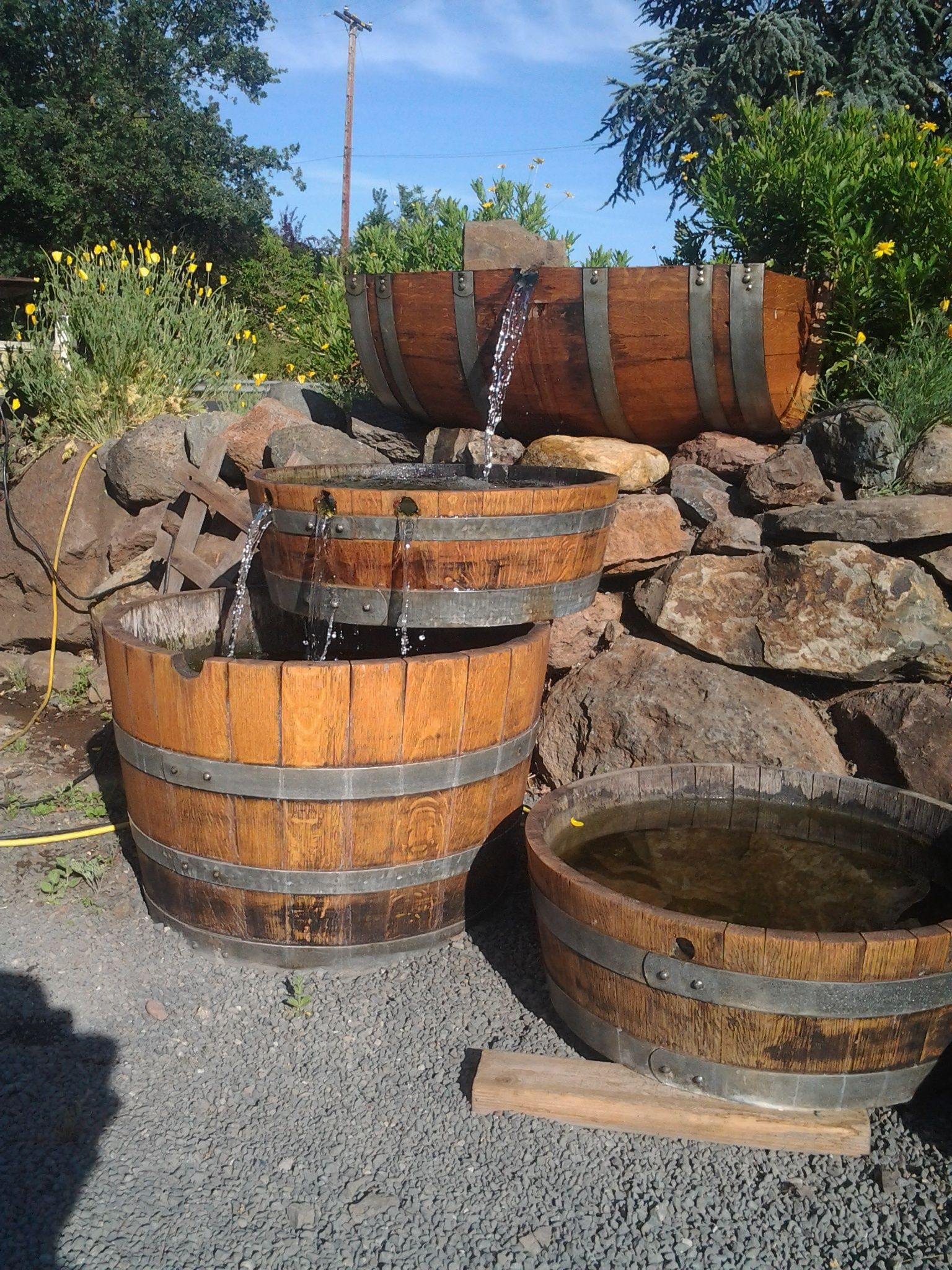 Triple Trough Fountain 575 00 Barrel Fountain Garden Gates And Fencing Recycled Wine Barrels