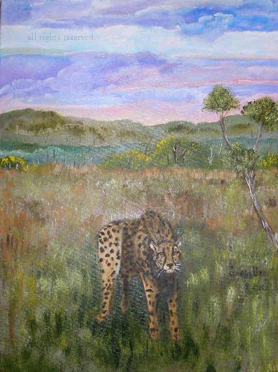 Original wildlife artwork Stalking Cheetah by Gaylord Perry of jonesaveartwork, $200.00