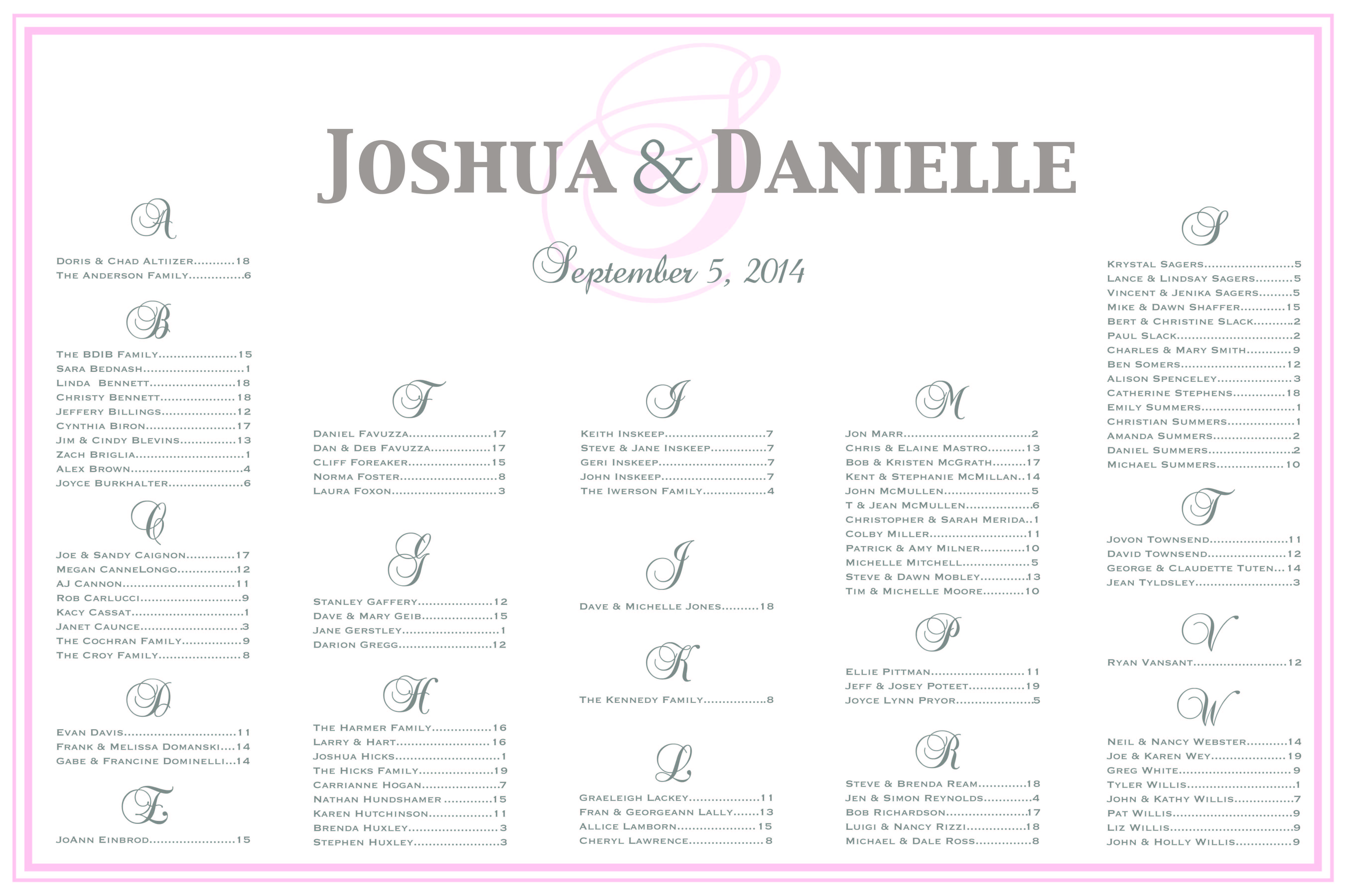 Wedding Seating Plan Table Assignment Poster For Your Or Anniversary Comes In Any Color Font