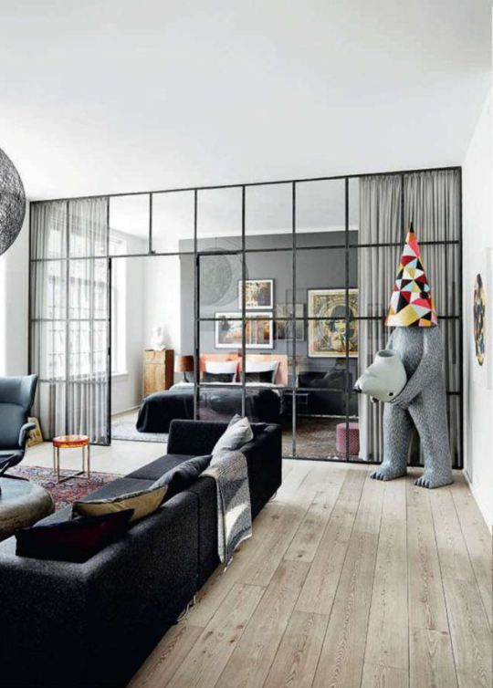 Micro Design Trend Factory Windows aka Black Metal-Framed Doors + - wohnzimmer mit glaswnde