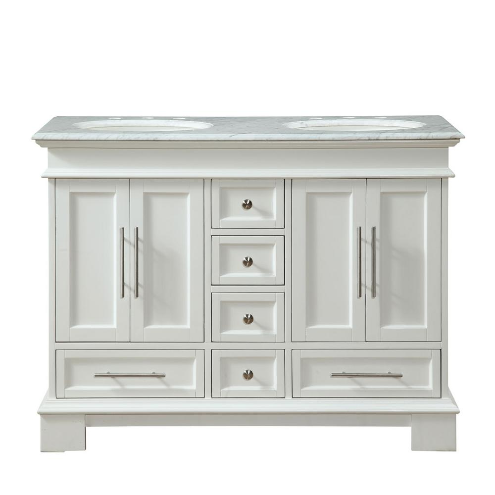 Silkroad Exclusive 48 In W X 22 In D Vanity In White Oak With Marble Vanity Top In Car Marble Vanity Tops 48 Inch Bathroom Vanity Double Sink Bathroom Vanity
