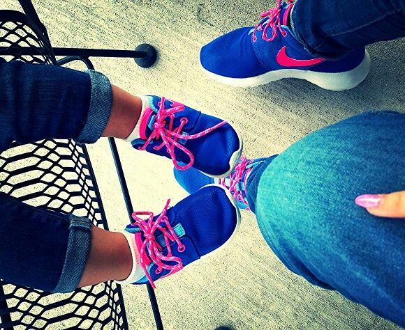 Matching Hot Pink and Blue Nikes