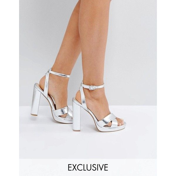 559ce22f4c65 Office Nickles Silver Platform Heeled Sandals ( 77) ❤ liked on Polyvore  featuring shoes